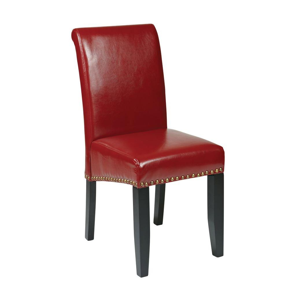 OSPdesigns Parsons Eco Leather Dining Chair with Nail Heads in Crimson