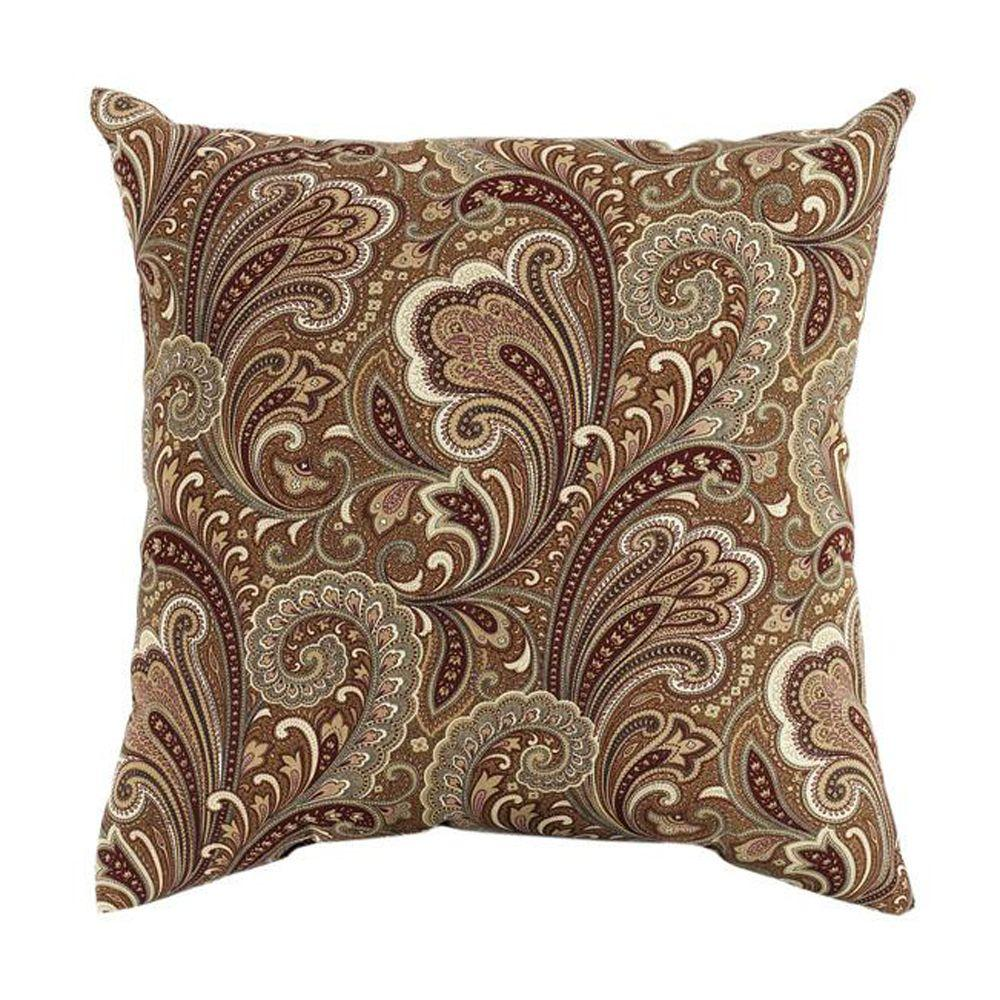 Home Decorators Collection Square Marona Cinnabar Polyester Outdoor Throw Pillow