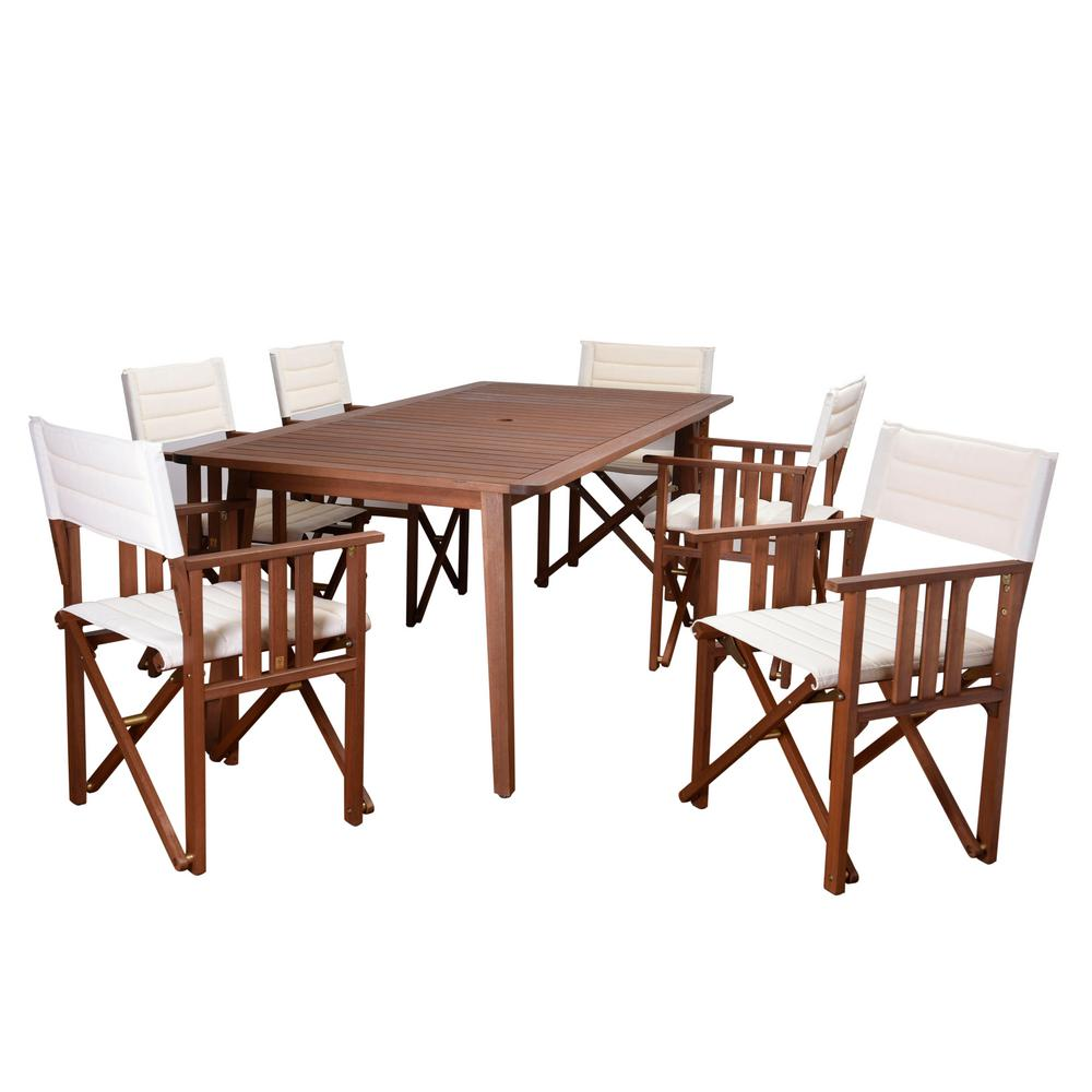 Rio 7-Piece Eucalyptus Rectangular Patio Dining Set with Off White Canvas