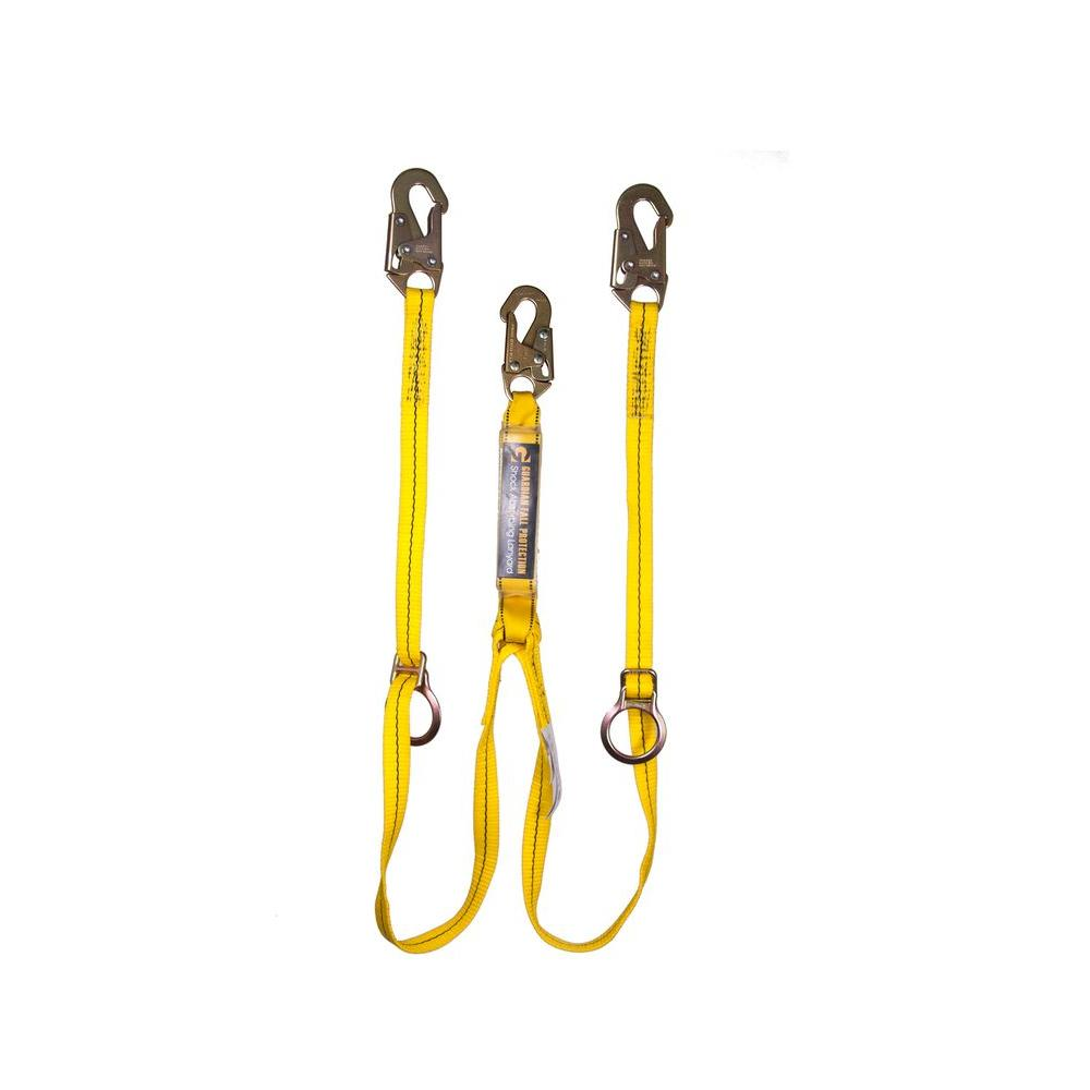 Guardian Fall Protection 6 ft. Double Leg Tie-Back Lanyard with Adjustable D-Ring
