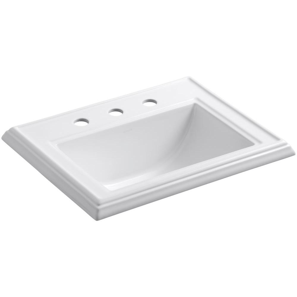 KOHLER Memoirs Drop In Vitreous China Bathroom Sink in White with Overflow  Drain K 2241 1 0   The Home Depot. KOHLER Memoirs Drop In Vitreous China Bathroom Sink in White with