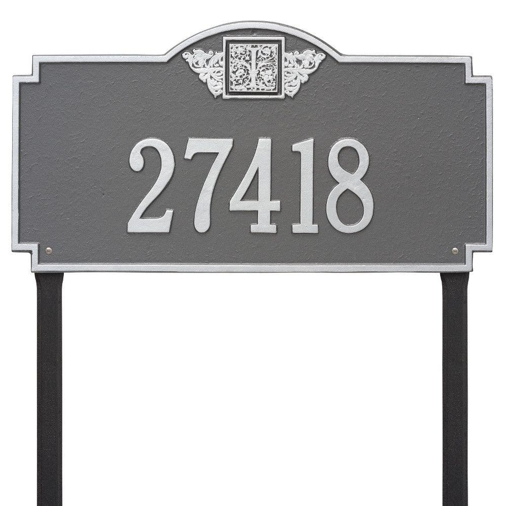 Whitehall Products Monogram Estate Lawn Rectangular Pewter/Silver 1-Line Address