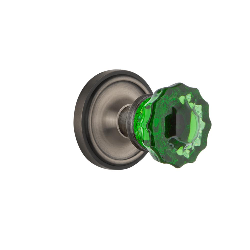 Classic Rosette Double Dummy Crystal Emerald Glass Door Knob in Antique