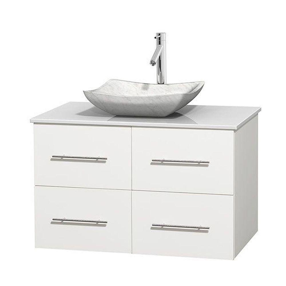 Centra 36 in. Vanity in White with Solid-Surface Vanity Top in