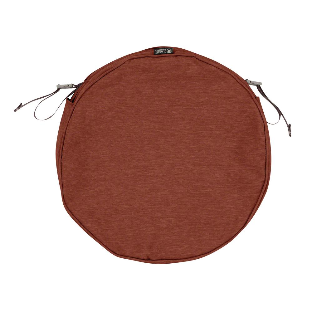 Montlake Fade Safe Heather Henna 18 In. Round Outdoor Seat Cushion Cover