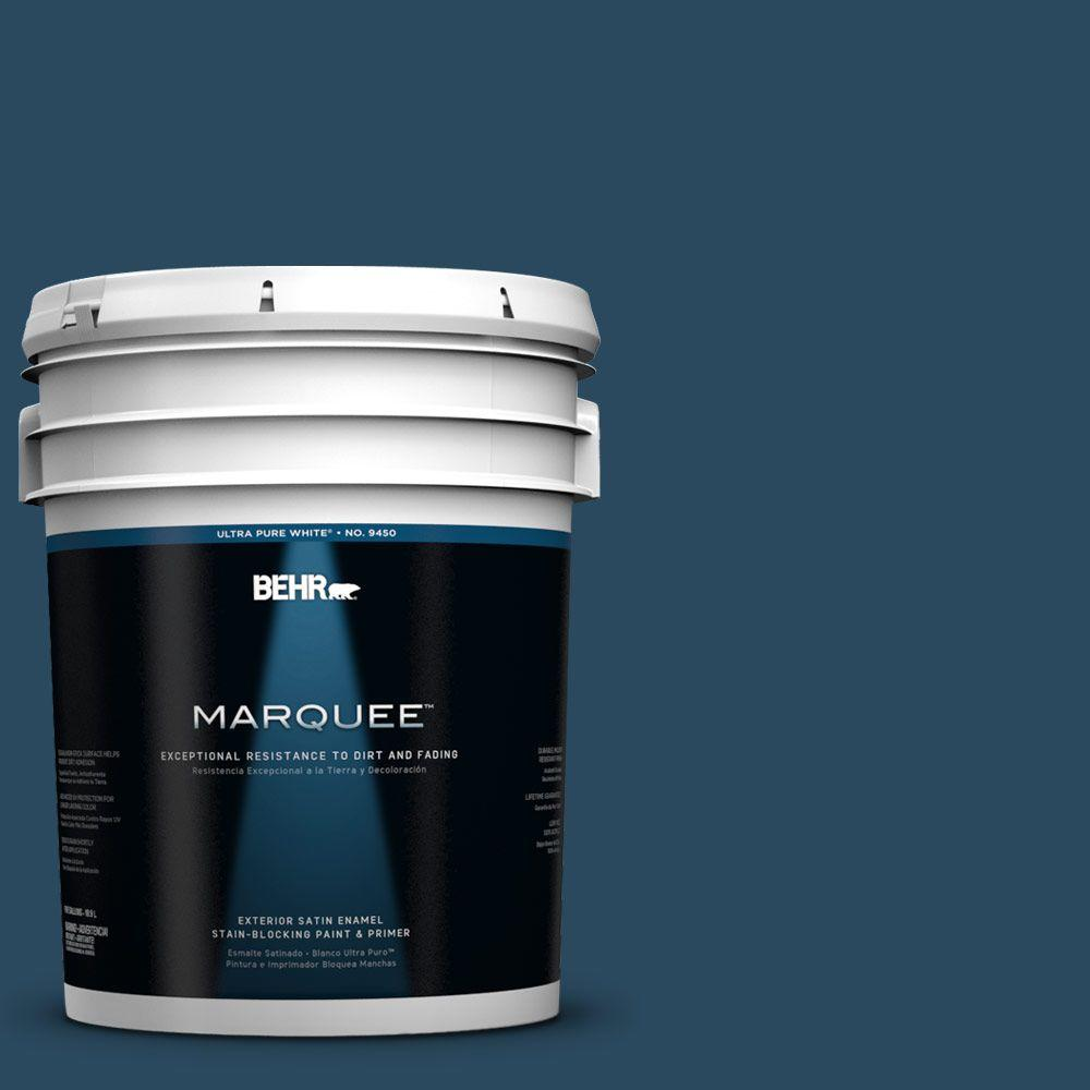 BEHR MARQUEE 5-gal. #570D-7 Nocturnal Sea Satin Enamel Exterior Paint