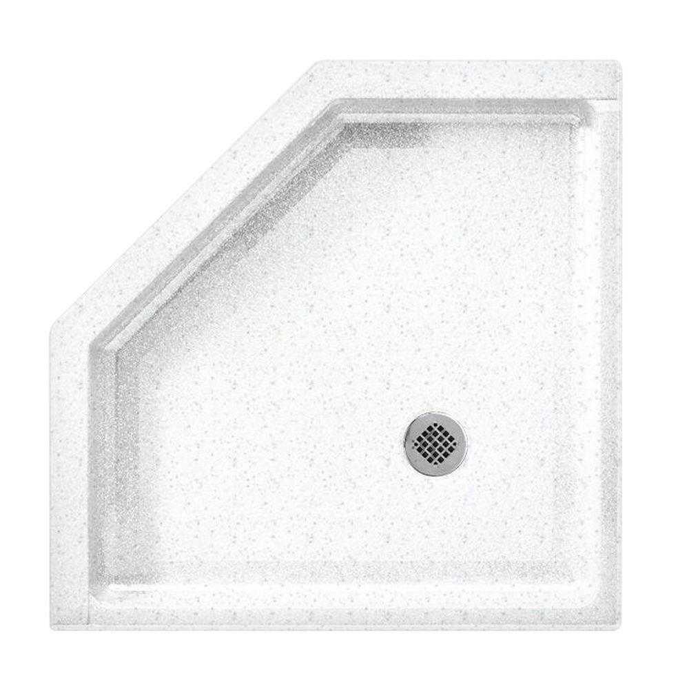 Swanstone Neo Angle 38 in. x 38 in. Single Threshold Shower Floor in Arctic Granite-DISCONTINUED