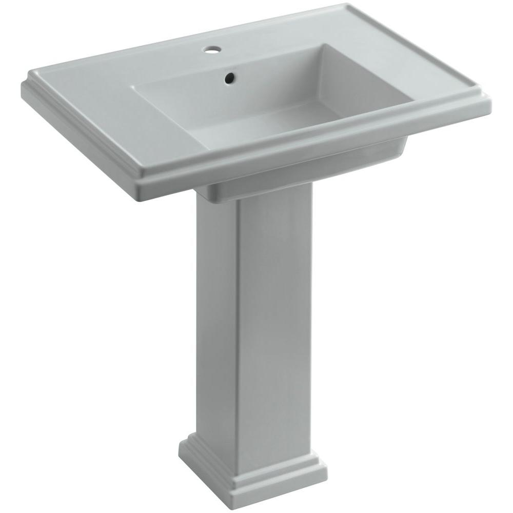 KOHLER Tresham Ceramic Pedestal Combo Bathroom Sink with Single-Hole Faucet Drilling in Ice Grey with Overflow Drain