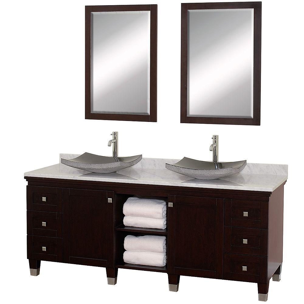 Wyndham Collection Premiere 72 in. Vanity in Espresso with Marble Vanity