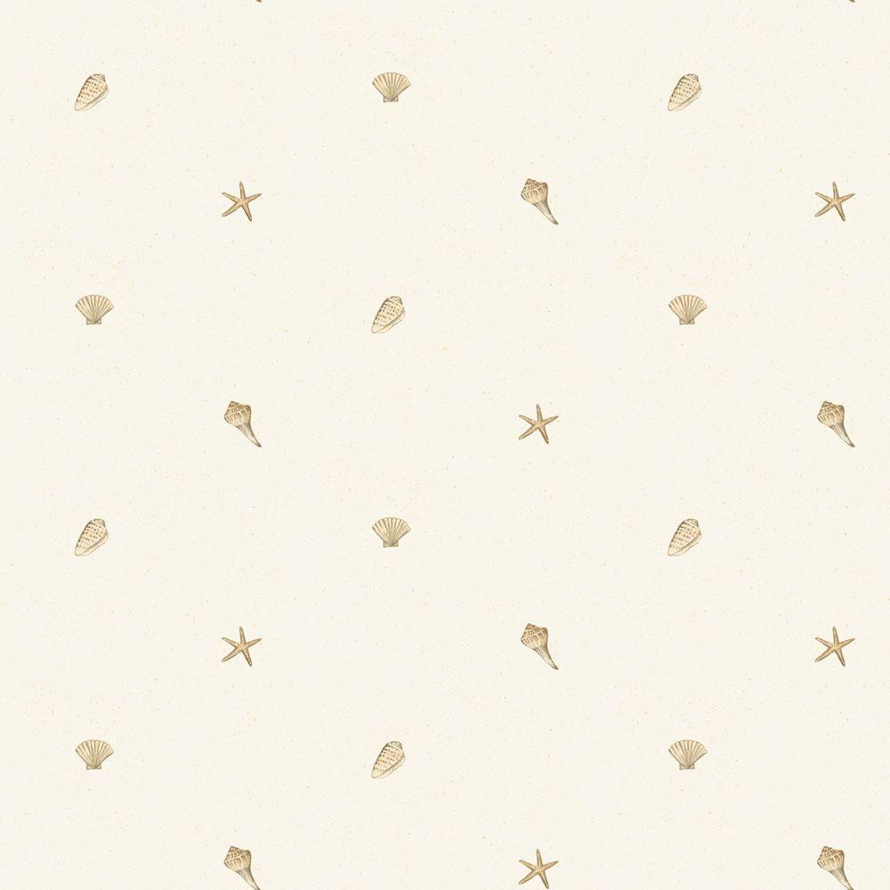 The Wallpaper Company 8 in. x 10 in. Neutral Starfish and Shells Wallpaper Sample