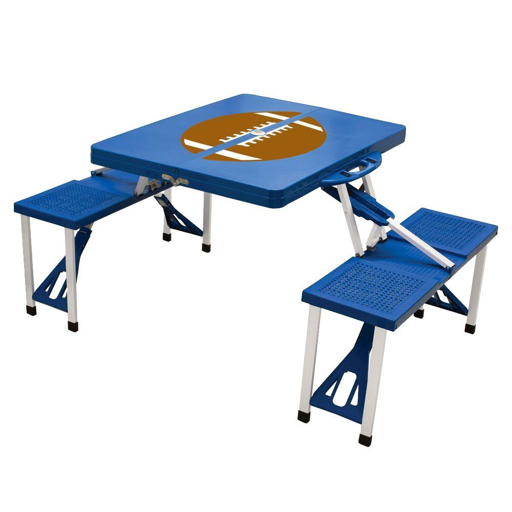 Blue Sport Compact Patio Folding Picnic Table with Football Pattern
