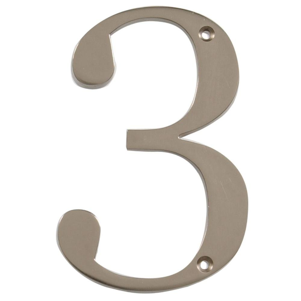 Distinctions 4 in. Flush Mount Brushed Nickel House Number 3