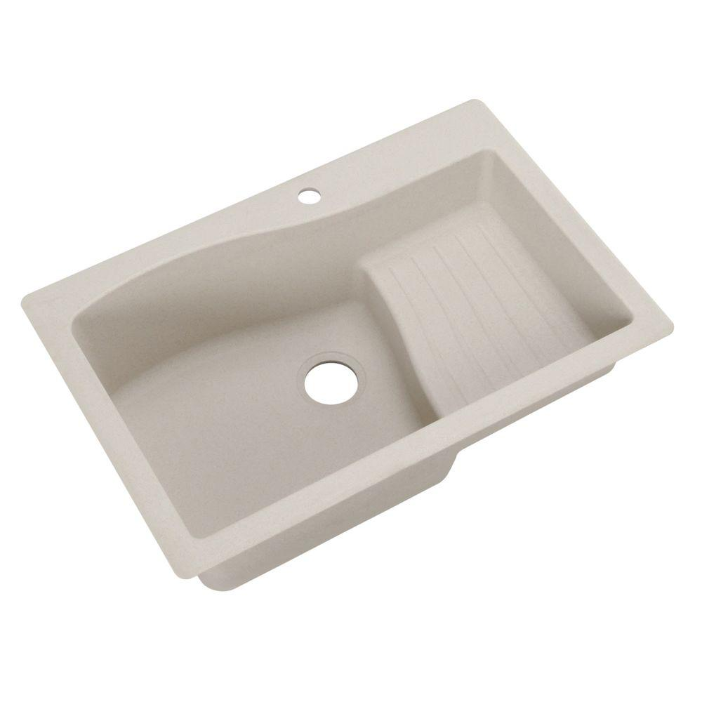 Ascend Dual Mount Granite 33 in. 1-Hole Single Bowl Kitchen Sink