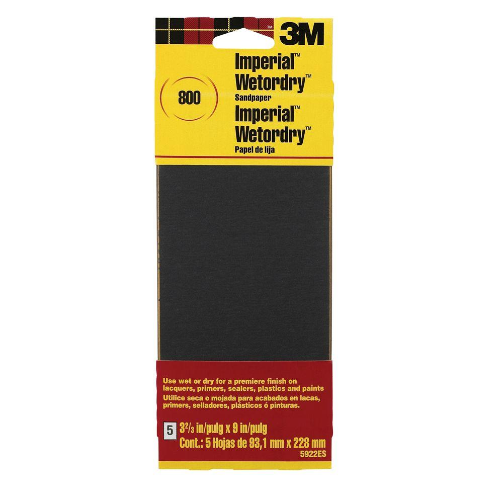 3M 3-2/3 in. x 9 in. Imperial Wetordry 800-Grit Sandpaper Sheets (5 Sheets-Pack)