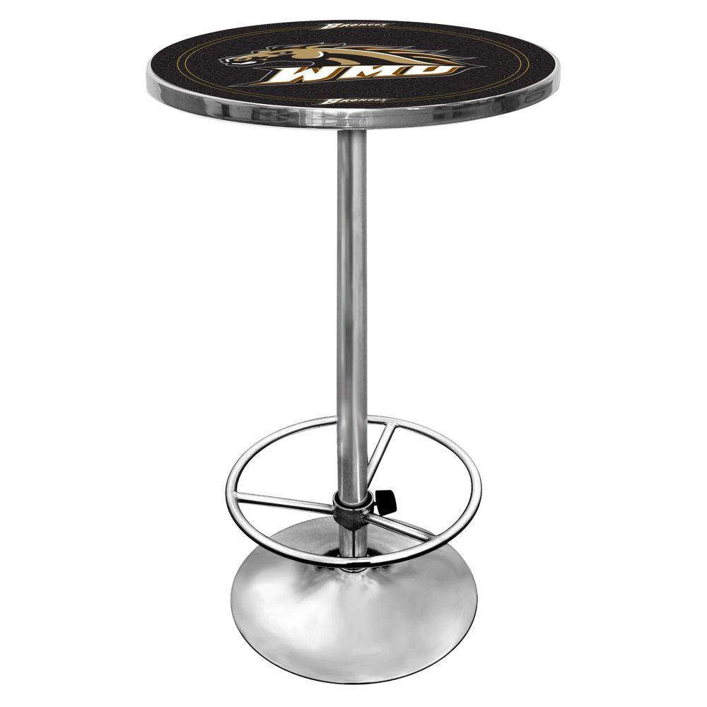 Western Michigan University 27 in. Chrome Pub Table