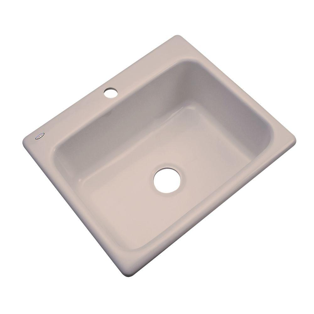 Thermocast Inverness Drop-In Acrylic 25 in. 1-Hole Single Basin Kitchen Sink in Fawn Beige