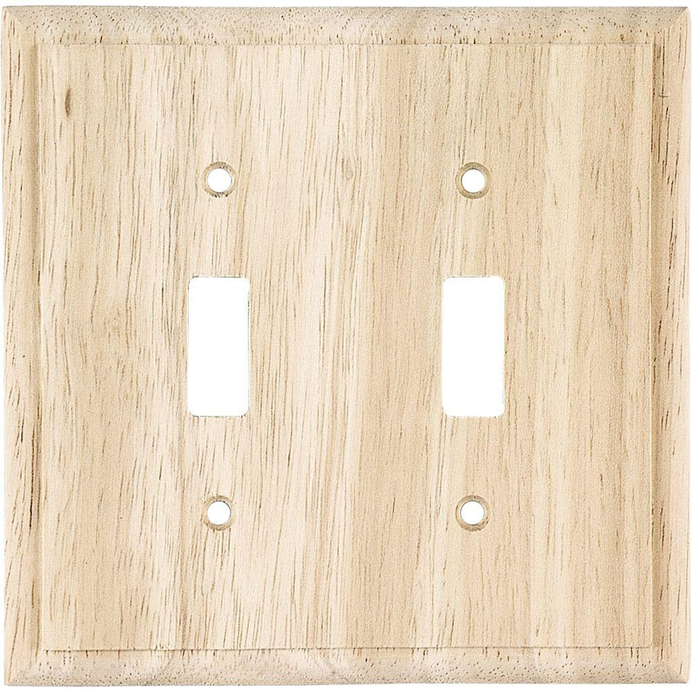 GE 2 Toggle Switch Wall Plate - Unifinished Solid Oak