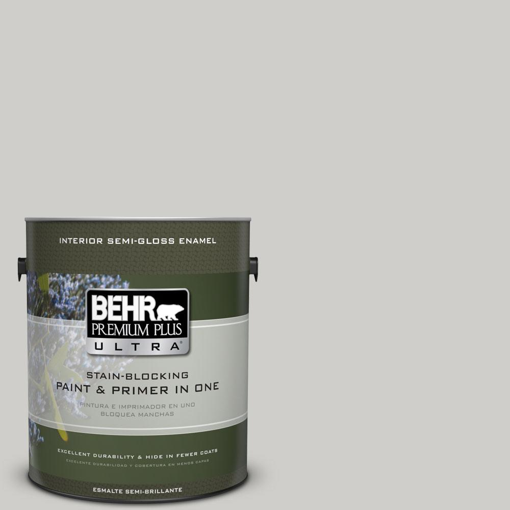 BEHR Premium Plus Ultra 1-gal. #PPF-18 Gazebo Gray Semi-Gloss Enamel Interior Paint