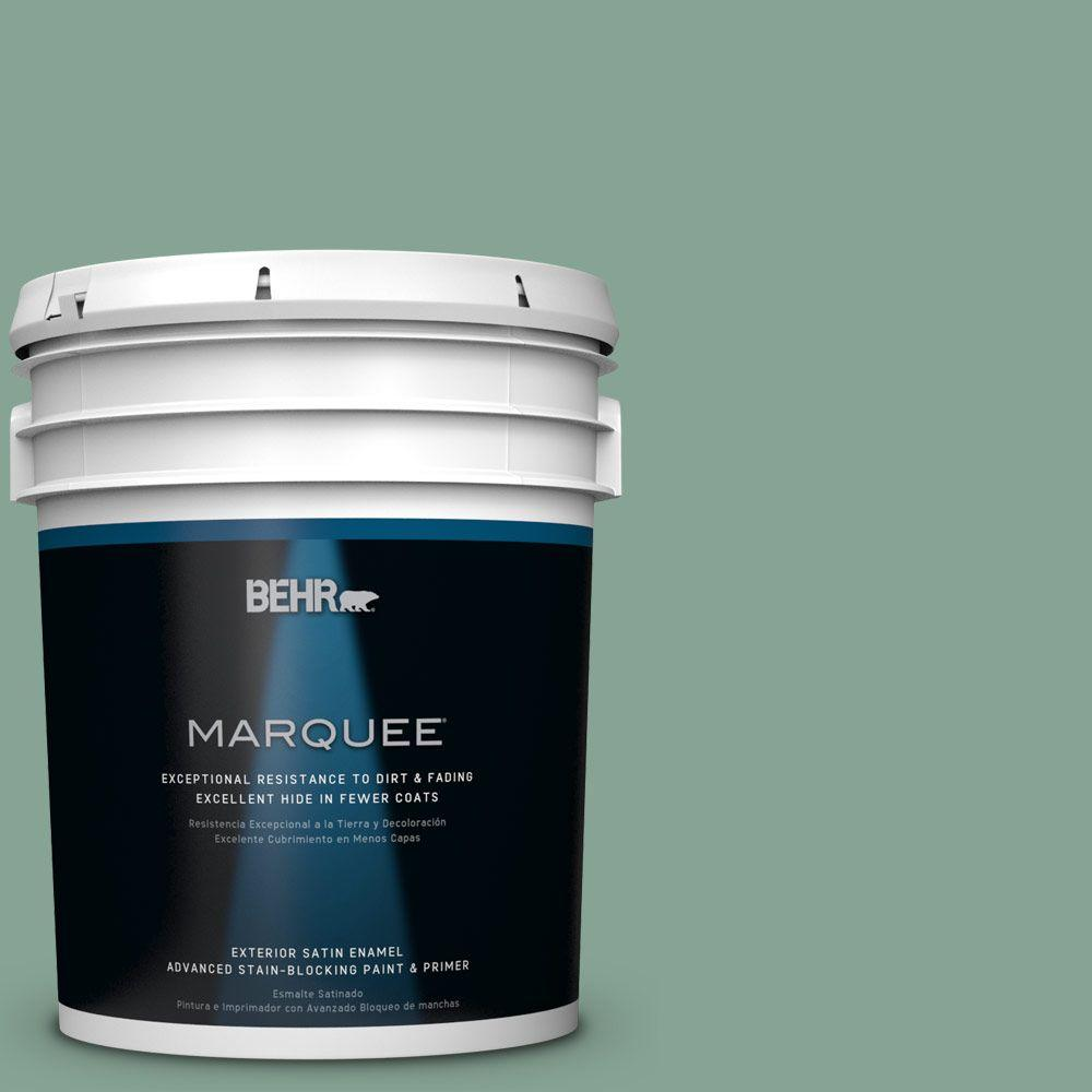 BEHR MARQUEE 5 gal. #T16-12 Modern Mint Satin Enamel Exterior Paint-945405