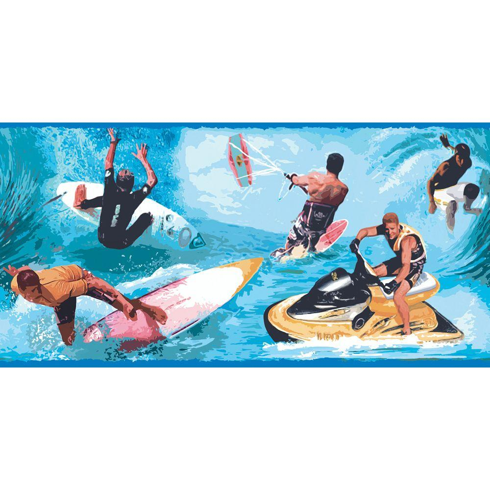 The Wallpaper Company 10.25 in. x 15 ft. Primary Colored Water Sports Border