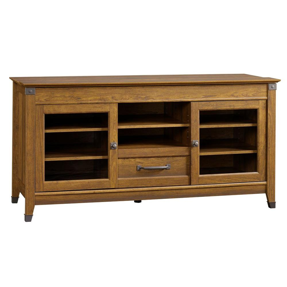 Carson Forge Collection 60 in. W Entertainment Credenza in Washington Cherry