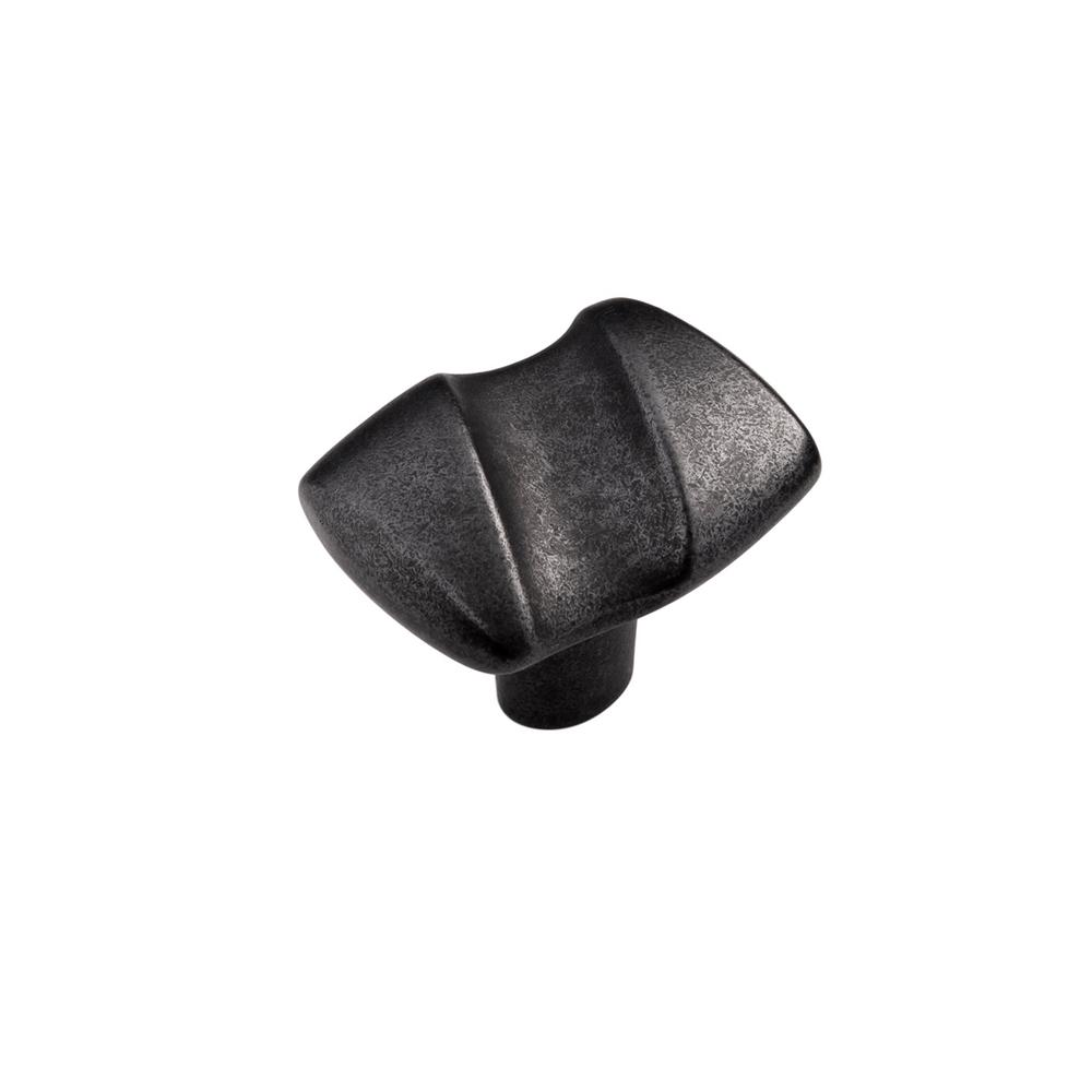 1-1/4 in. x 1-1/2 in. Serendipity Black Iron Cabinet Knob