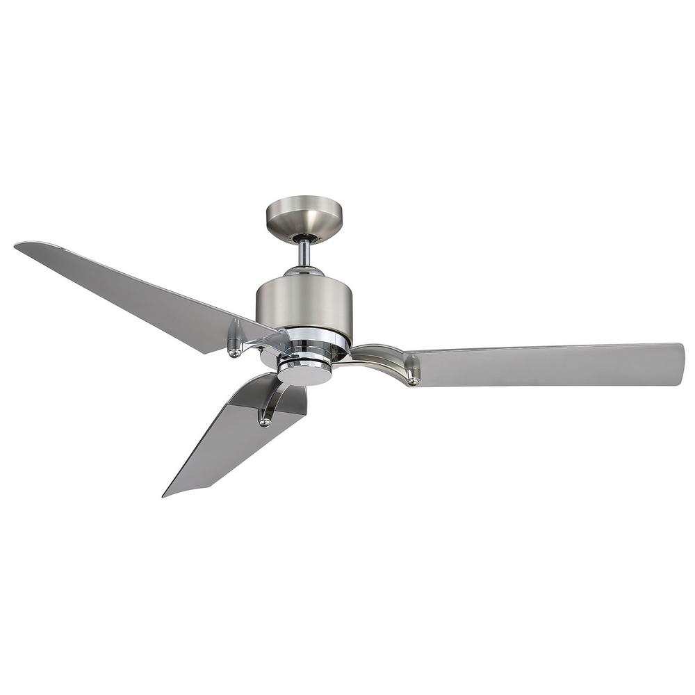 52 in. LED Indoor/Outdoor Satin Nickel and Chrome Ceiling Fan