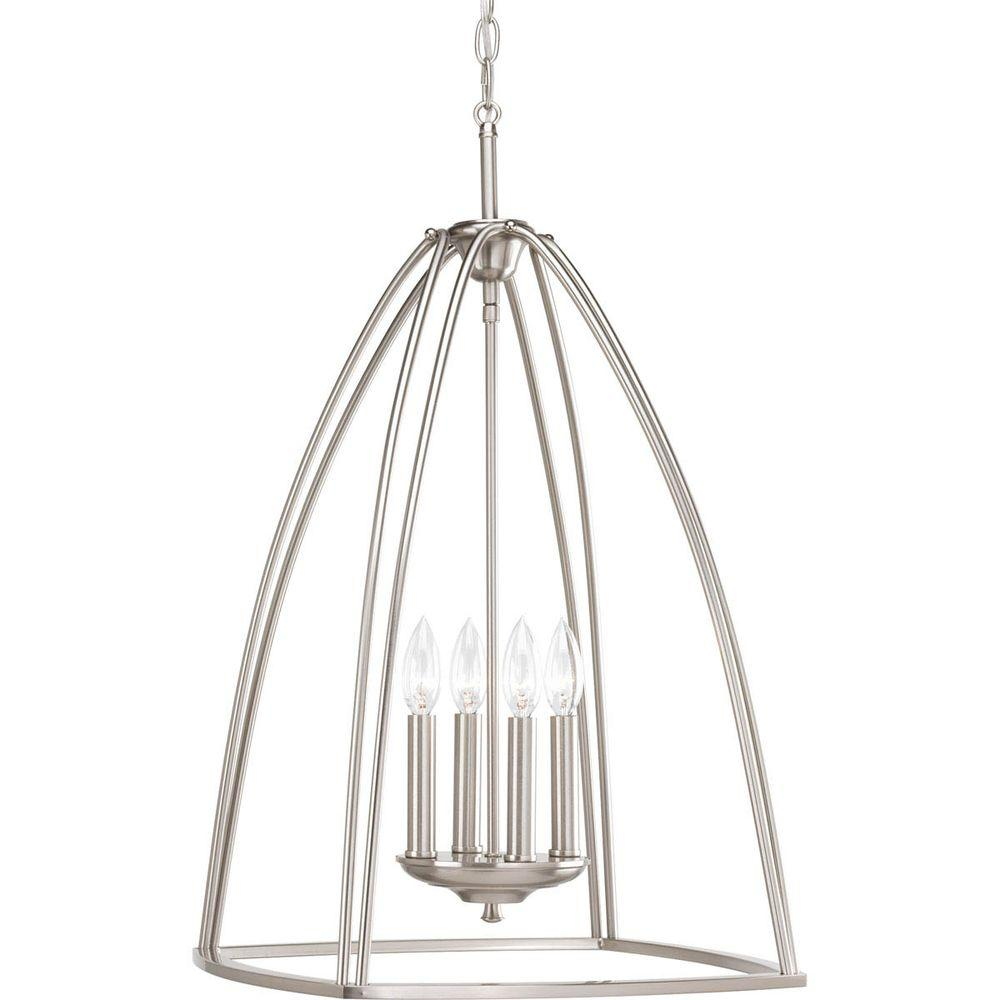 Nickel Foyer Chandelier : Progress lighting tally collection light brushed nickel
