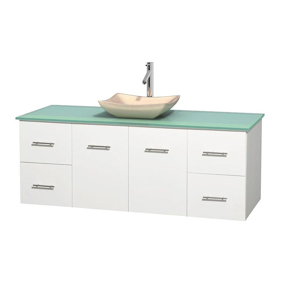 Centra 60 in. Vanity in White with Glass Vanity Top in