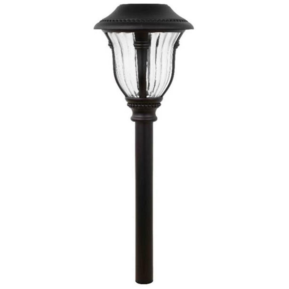 Hampton bay bronze open stock solar outdoor led pathway for Led yard lights
