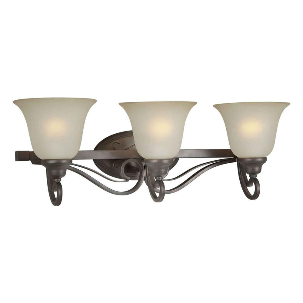 Talista 3-Light Antique Bronze Bath Vanity Light with Shaded Umber Glass