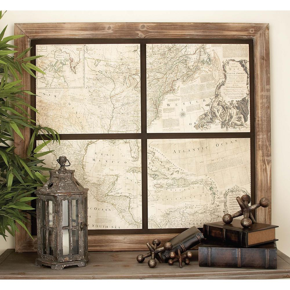 World Map Wall Decor 43 in. x 49 in. rustic chinese fir wood world map wall decor-27270