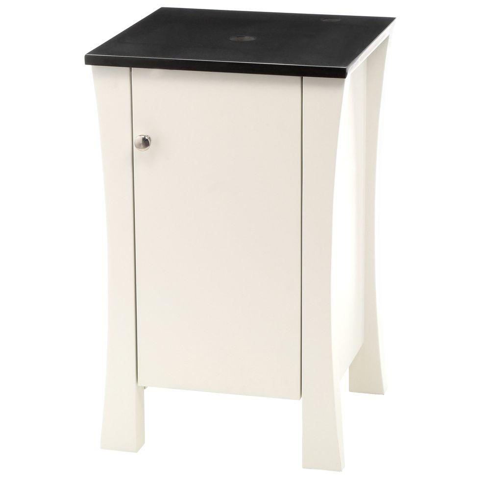 DECOLAV 18 in. W x 18 in. D x 29 in. H White Vanity Storage Cabinet with Single Hole Faucet Drilling Granite Vanity Top in Black