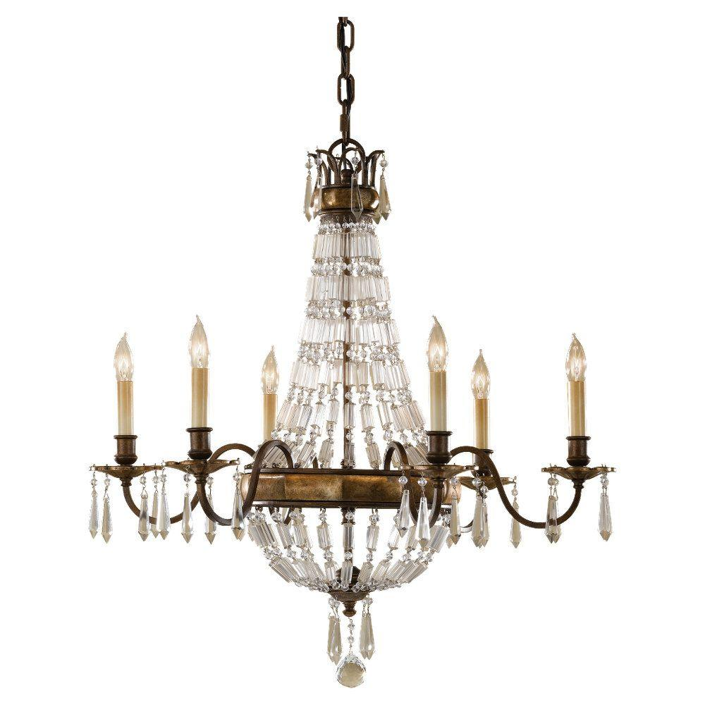 Feiss Adan 6-Light Rustic Iron/Burnished Wood Chandelier ...