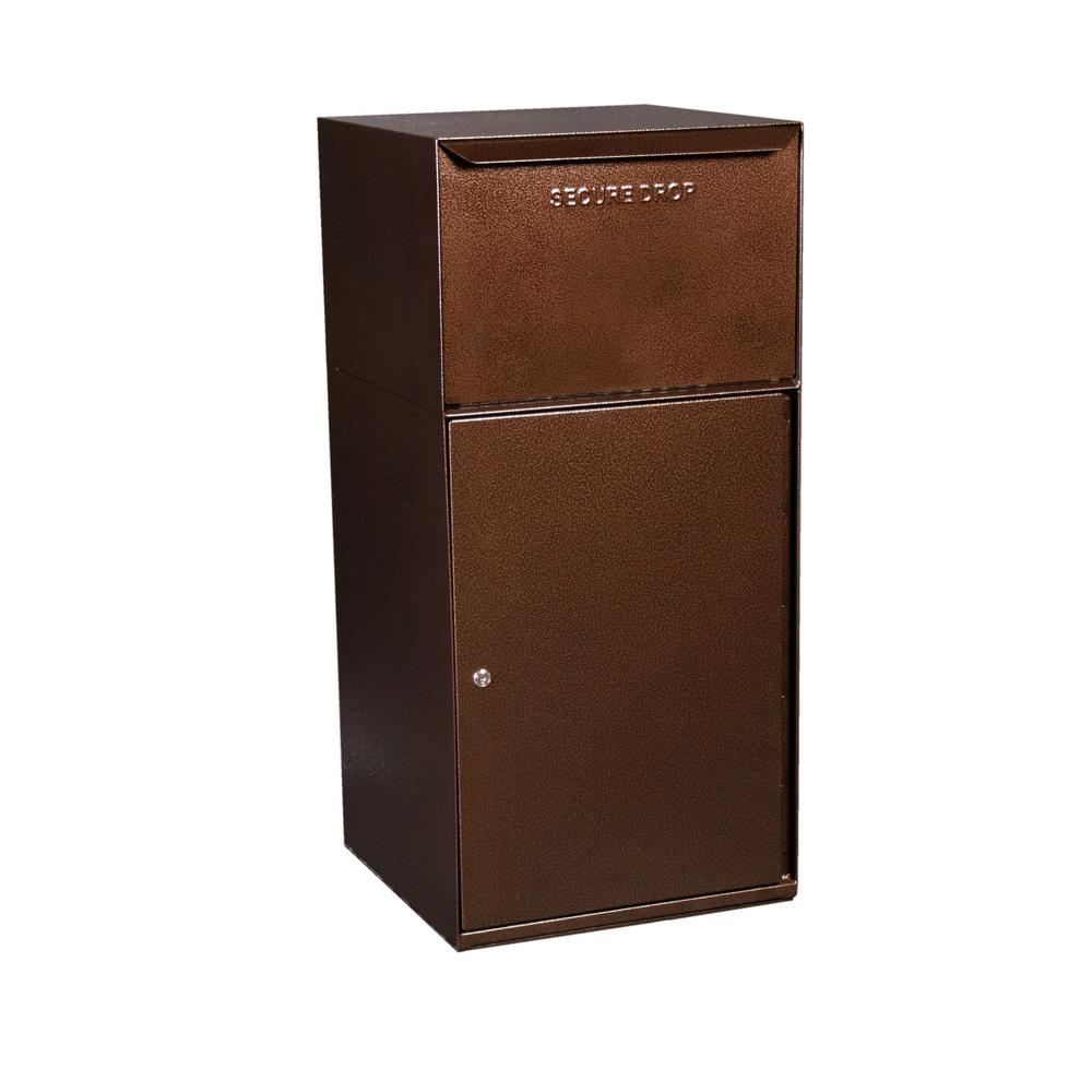 dVault Mailboxes Secure Collection Unit with Front Access and Tote Delivery Vault in Copper Vein