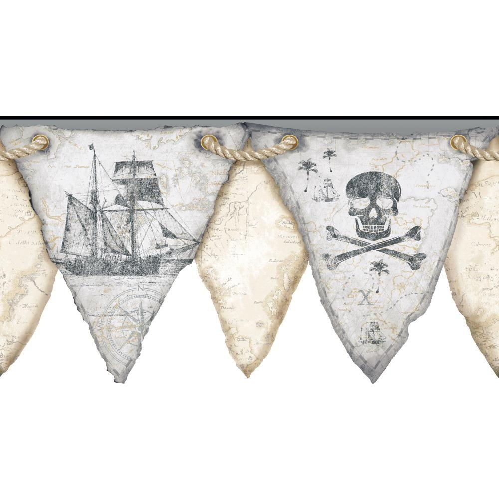 York Wallcoverings 11 in. Cool Kids Pirates Pennant Border-KS2332BD - The