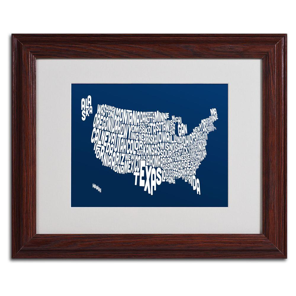 Trademark Fine Art 11 in. x 14 in. USA States Text Map - Navy Matted Framed Art