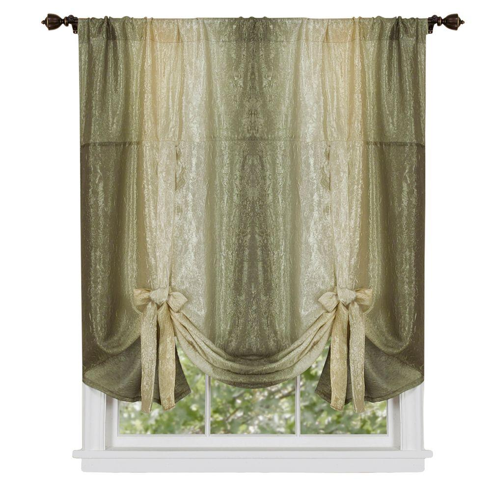 Achim Sage Ombre Tie Up Shade Curtain   50 In. W X 63 In.