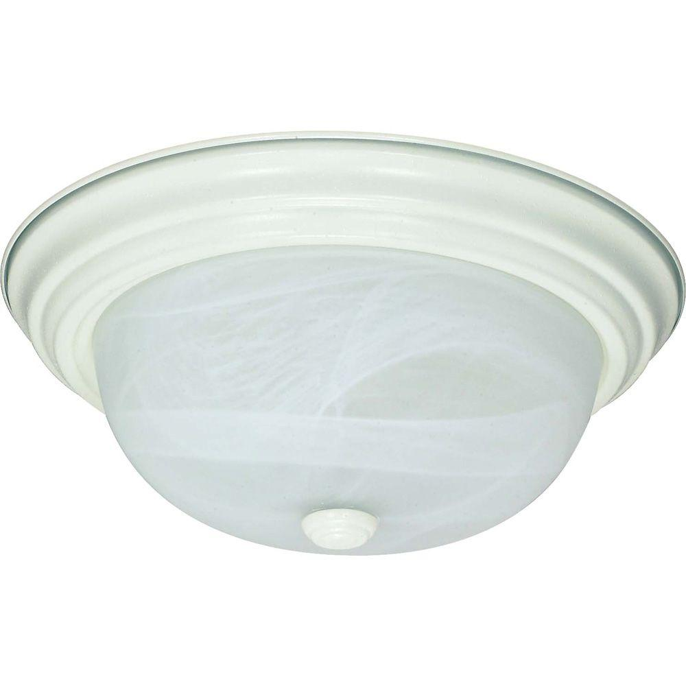 Alabaster Glass Panels : Glomar light textured white flush mount with alabaster
