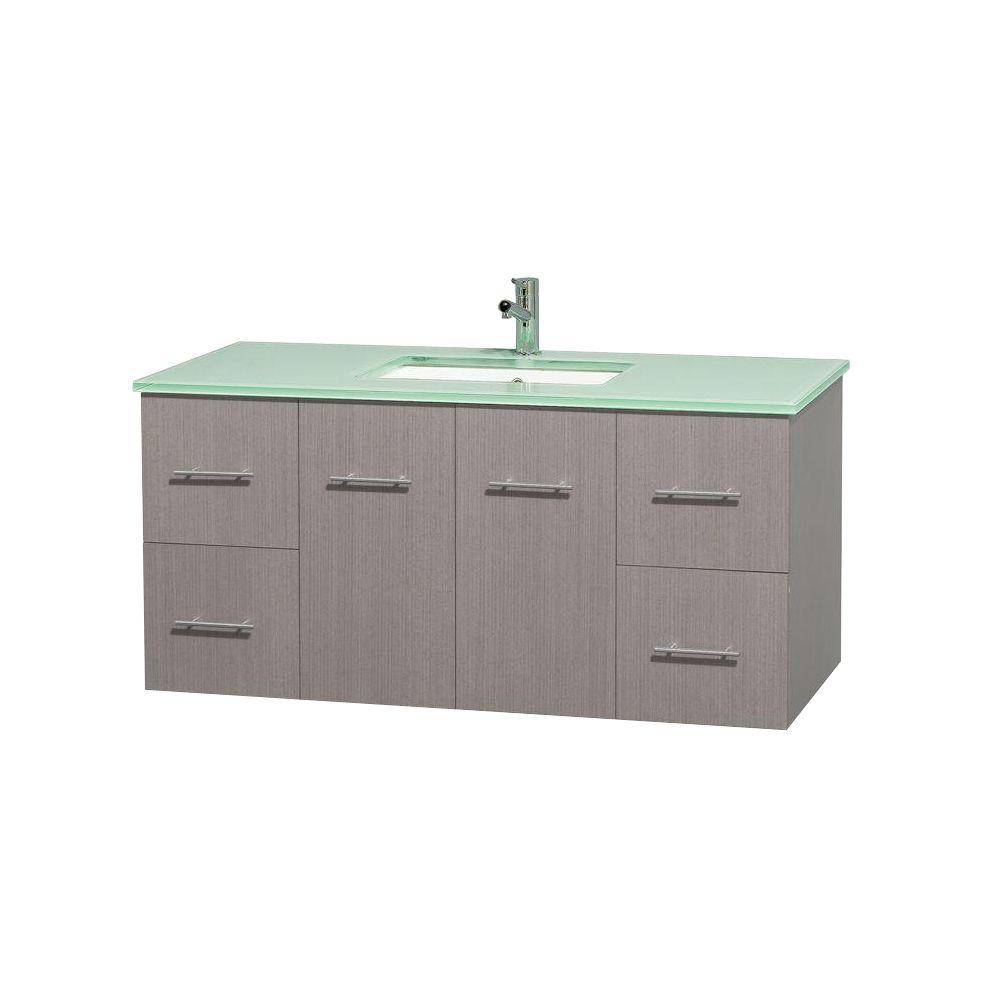 Wyndham Collection Centra 48 in. Vanity in Gray Oak with Glass