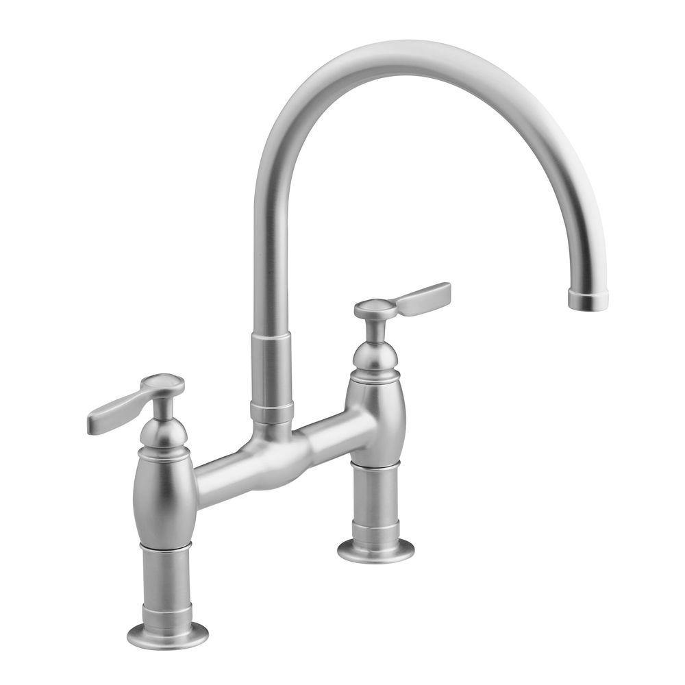 KOHLER Parq Deck-Mount 12 in. 2-Handle Mid-Arc Bridge Kitchen Faucet in Vibrant Stainless Steel