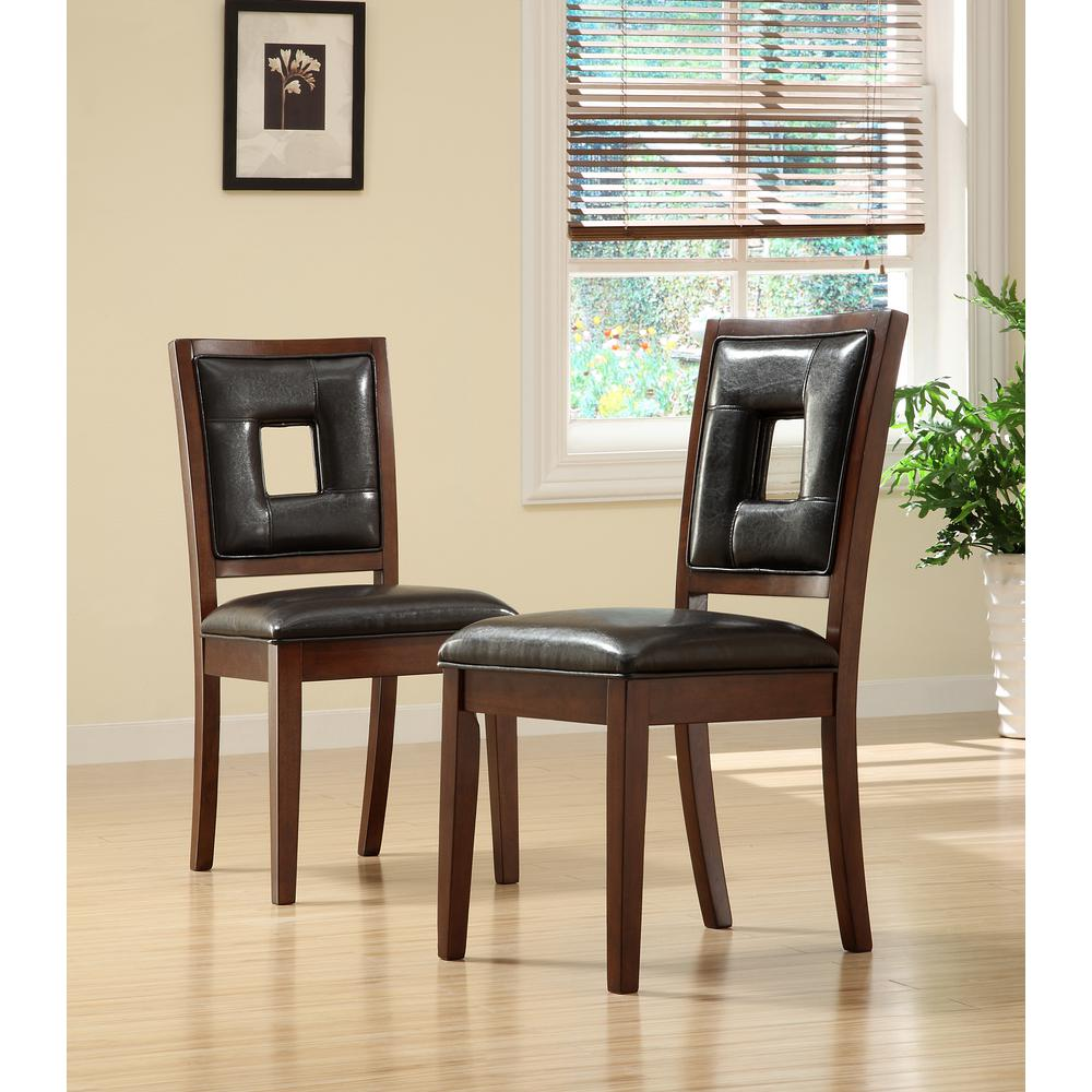 Home Decorators Collection Faux Leather Side Chair With Wooden Frame In Dark Brown Set Of 2