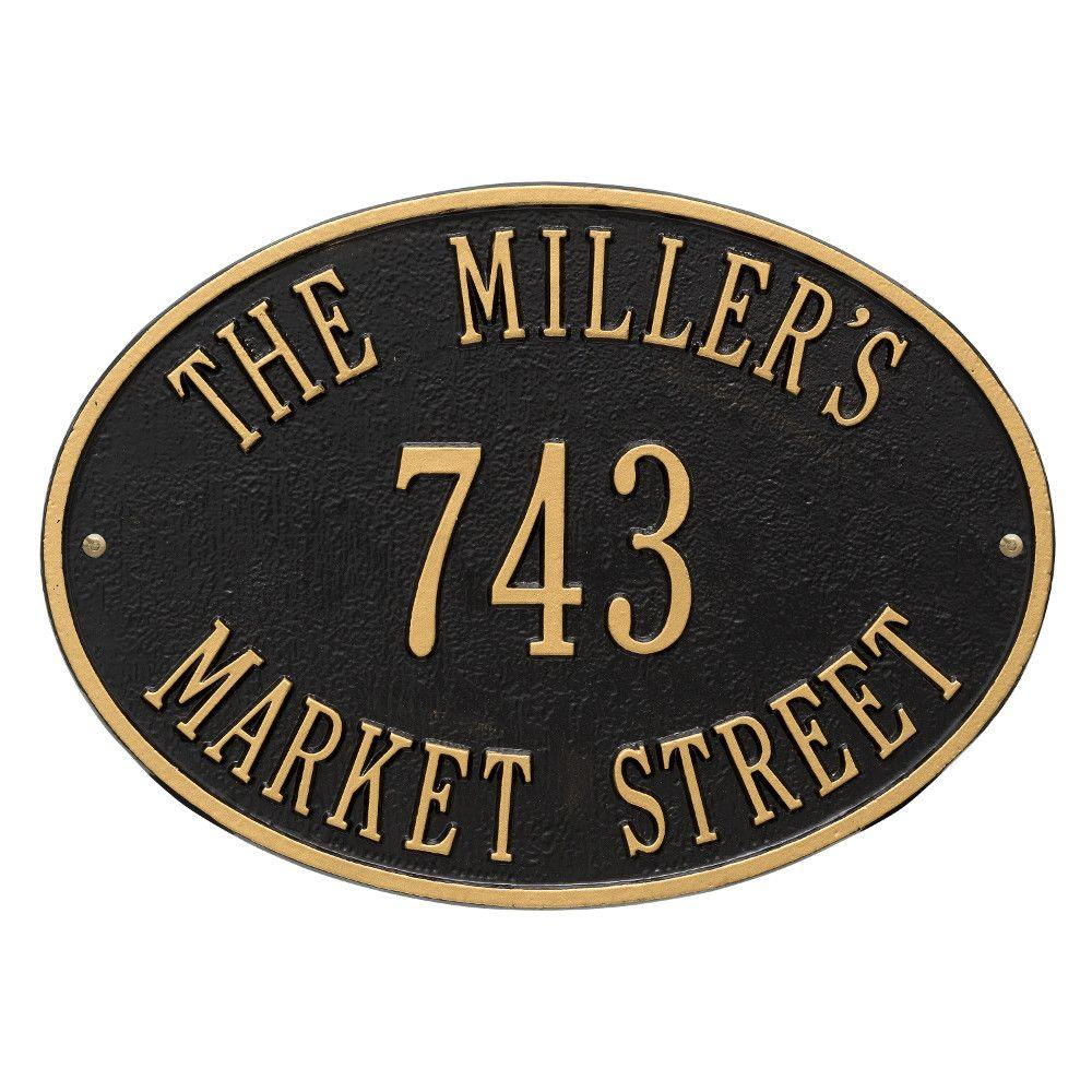 Oval Hawthorne Standard Black/Gold Wall 3-Line Address Plaque