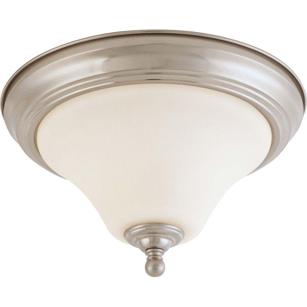 Glomar 1-Light Brushed Nickel Mount with Satin White Glass