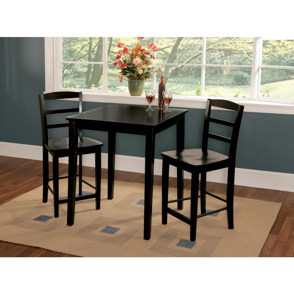 Madrid 3-Piece Counter Height Black Dining Set