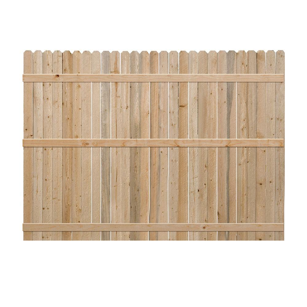 6 ft. H x 8 ft. W Pine Dog-Ear Fence Panel
