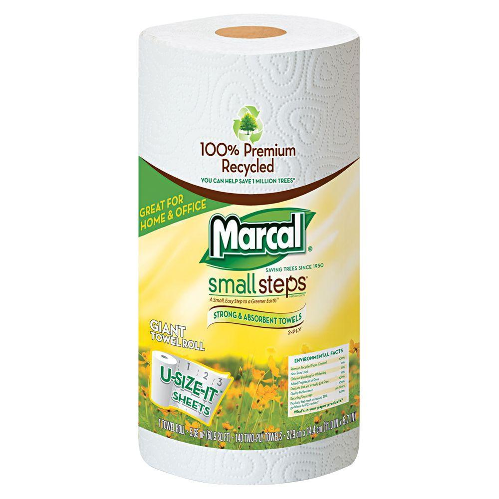 Marcal 11 in. x 5-7/10 in. Premium Recycled Giant Out Dispenser Roll Towels (12-Rolls)
