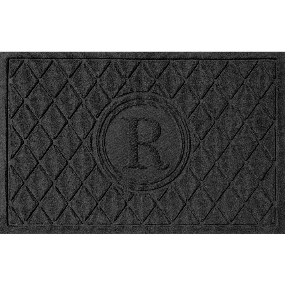 Argyle Charcoal (Grey) 24 in. x 36 in. Monogram R Door Mat