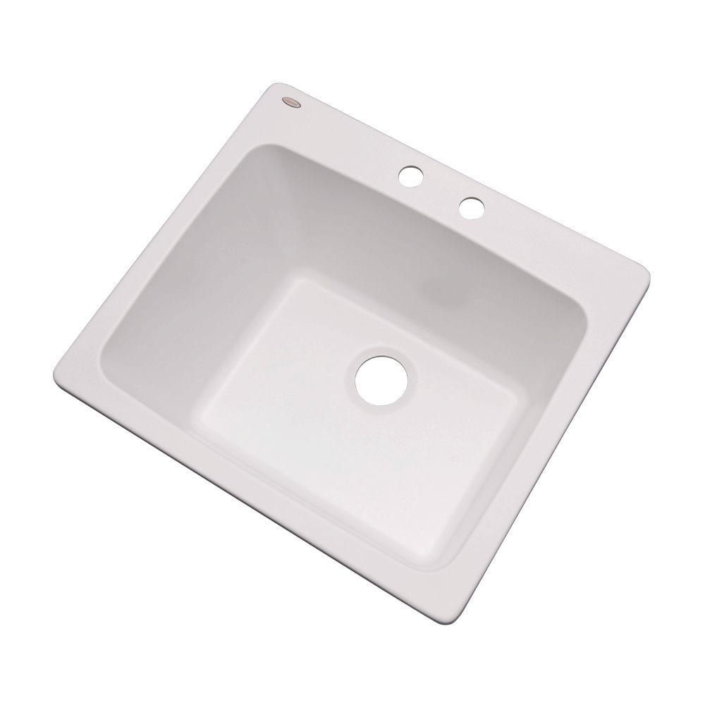 Mont Blanc Wakefield Drop-In Natural Stone Composite 25 in. 2-Hole Single Basin Utility Sink in White
