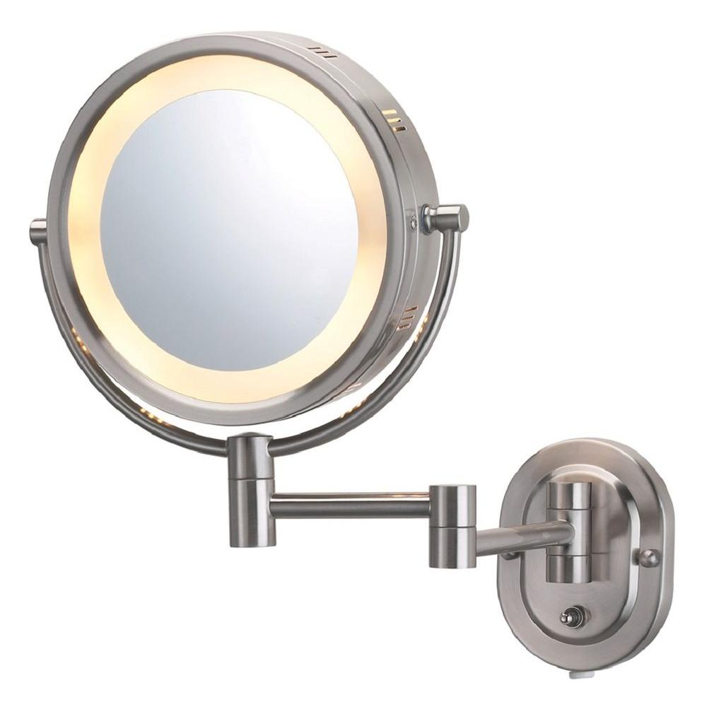 Wall Mounted Mirror With Lights jerdon 5x halo lighted 13 in. l x 9.5 in. w wall mount mirror in